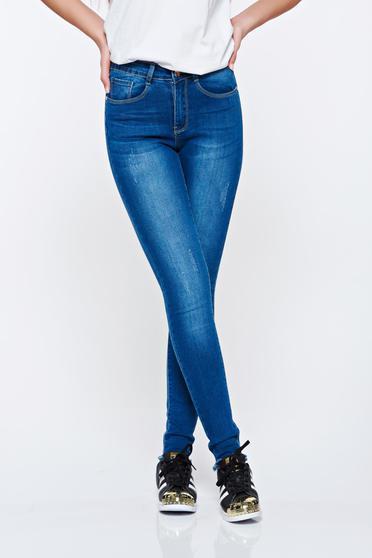 Kék Top Secret normál derekú pamutból készült skinny farmer