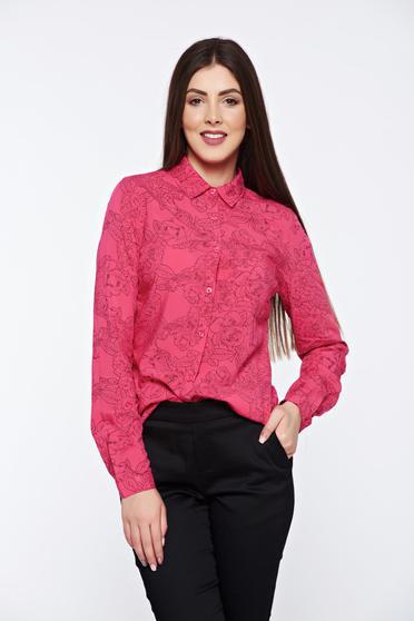 Korall Top Secret bő szabású virágmintás női ing