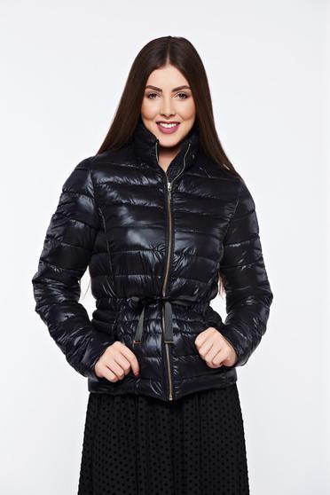 Fekete Top Secret hétköznapi dzseki belső béléssel a kapucni nem távolítható el