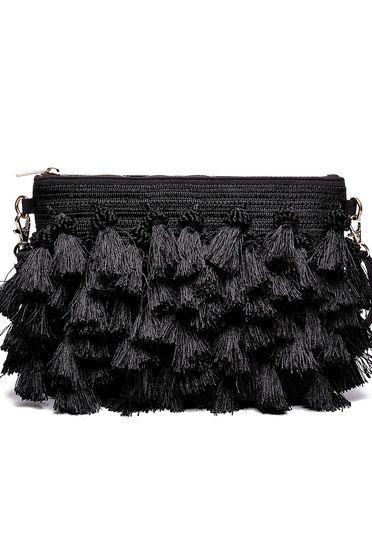 Fekete Top Secret hétköznapi táska rojtokkal