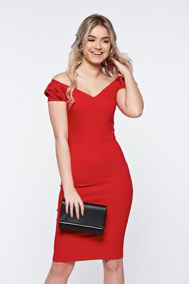 Piros StarShinerS elegáns ceruza ruha a vállakon enyhén rugalmas anyag