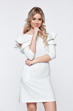 Fehér LaDonna bő szabás ruha fodrozott ujjakkal