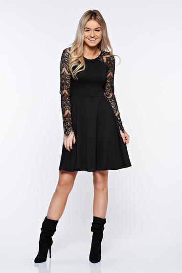 Fekete StarShinerS elegáns harang ruha csipke ujj