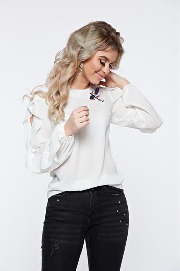 Fehér LaDonna elegáns bő szabású női blúz fodrozott ujjakkal