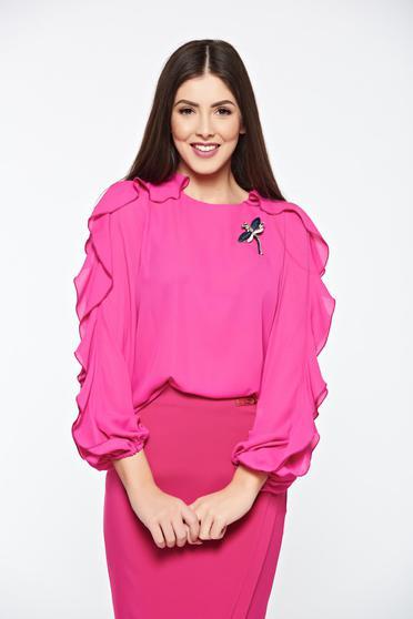 Pink LaDonna elegáns bő szabású női blúz fodrozott ujjakkal