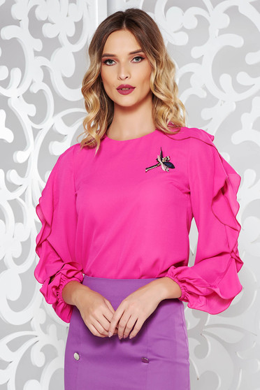 Pink LaDonna elegáns bő szabású női blúz fodrozott ujjakkal d0a2ec4d89