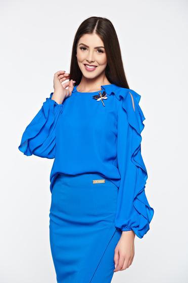 Kék LaDonna elegáns bő szabású női blúz fodrozott ujjakkal