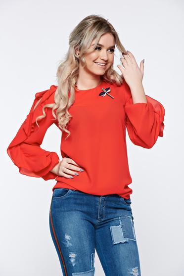 Piros LaDonna elegáns bő szabású női blúz fodrozott ujjakkal