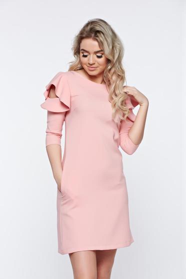 Rózsaszínű LaDonna bő szabás ruha fodrozott ujjakkal