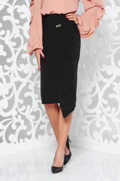Fekete LaDonna magas derekú irodai szoknya belső béléssel