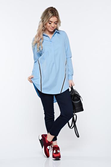 Kék LaDonna hétköznapi bő szabás pamutból készült női ing
