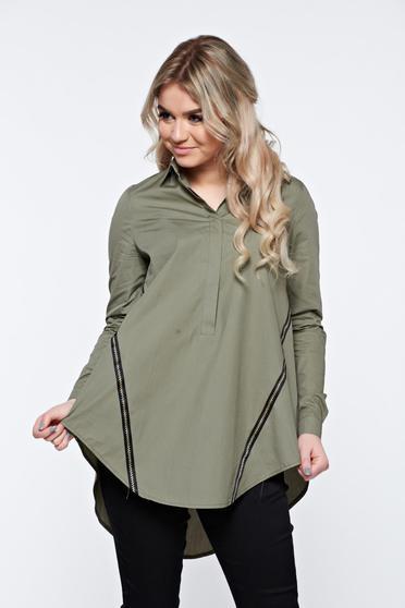 Kaki LaDonna hétköznapi bő szabás pamutból készült női ing