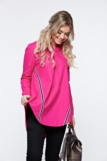 Pink LaDonna hétköznapi bő szabás pamutból készült női ing