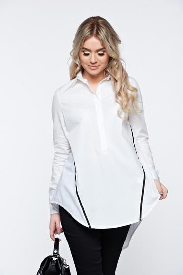 Fehér LaDonna hétköznapi bő szabás pamutból készült női ing