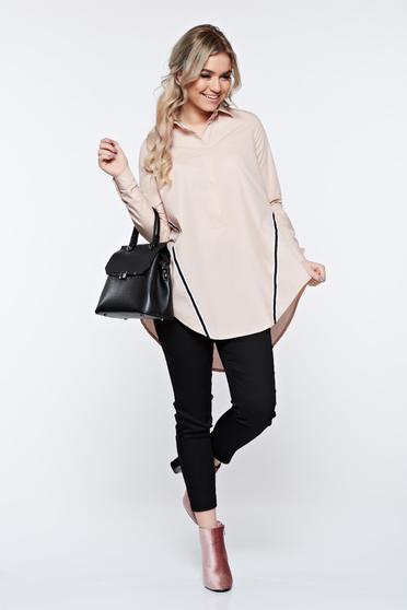Rózsaszínű LaDonna hétköznapi bő szabás pamutból készült női ing