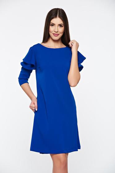 Kék LaDonna bő szabás ruha fodrozott ujjakkal