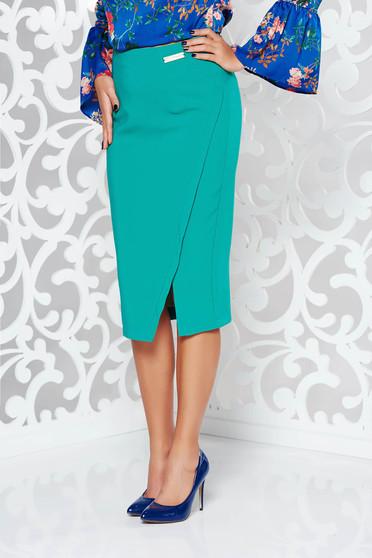 Zöld LaDonna irodai szoknya rugalmatlan szövet belső béléssel