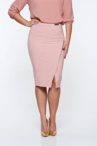 Rózsaszínű LaDonna irodai szoknya rugalmatlan szövet belső béléssel