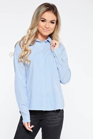 Kék PrettyGirl hétköznapi bő szabású pamutból készült női ing