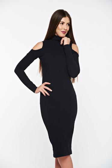 Fekete PrettyGirl magas nyakú ceruza ruha rugalmas bordázott anyagból
