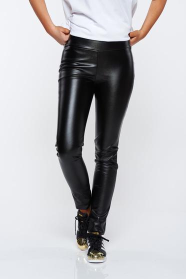 Fekete PrettyGirl casual jégernadrág műbőr derékban rugalmas