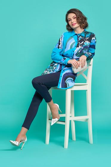 Kék PrettyGirl bő szabás női ing lenge anyagból öv típusú kiegészítővel