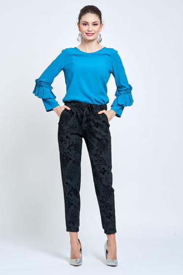 Fekete PrettyGirl kónikus zsebes nadrág derékban rugalmas