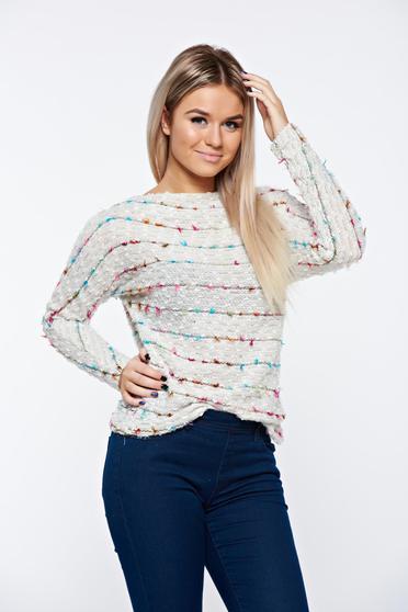 Krém Top Secret casual bő szabású pulóver kötött