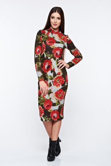 Kaki StarShinerS hétköznapi hétköznapi ruha virágmintás díszítéssel kötött anyag