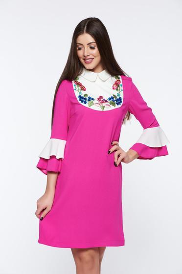 Pink LaDonna elegáns bő szabású hímzett ruha harang ujjakkal