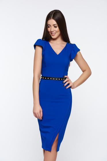 Kék LaDonna elegáns ceruza ruha belső béléssel gyöngy díszítéssel