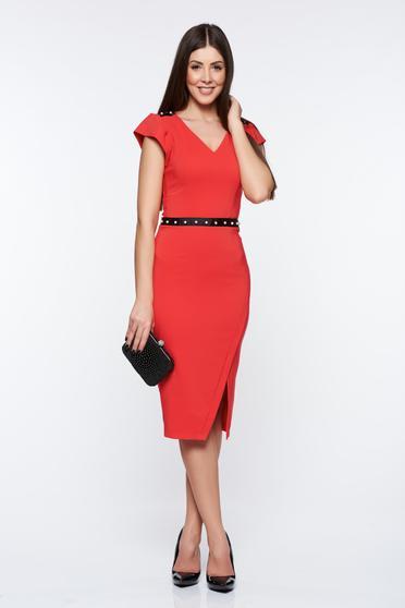 Piros LaDonna elegáns ceruza ruha belső béléssel gyöngy díszítéssel