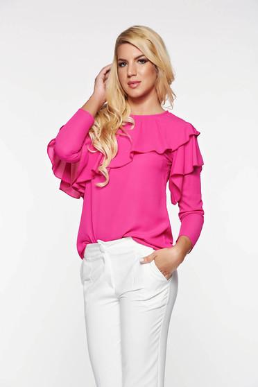 Pink LaDonna elegáns bő szabás női blúz lenge anyagból fodrok a mellrészen