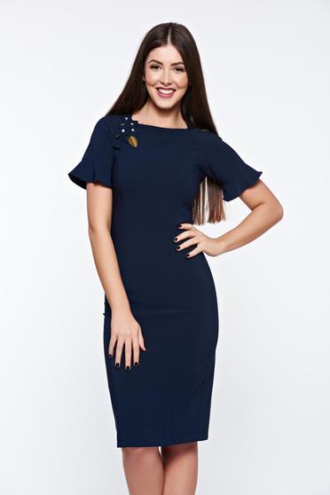 Sötétkék LaDonna elegáns ruha kézzel varrott díszítésekk belső béléssel