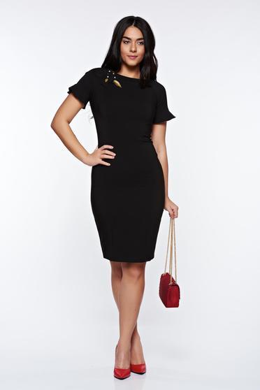 Fekete LaDonna elegáns ruha kézzel varrott díszítésekk belső béléssel
