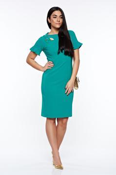 Zöld LaDonna elegáns ruha kézzel varrott díszítésekk belső béléssel