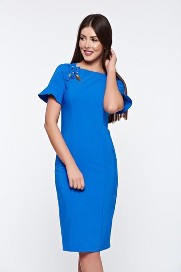 Kék LaDonna elegáns ruha kézzel varrott díszítésekkel