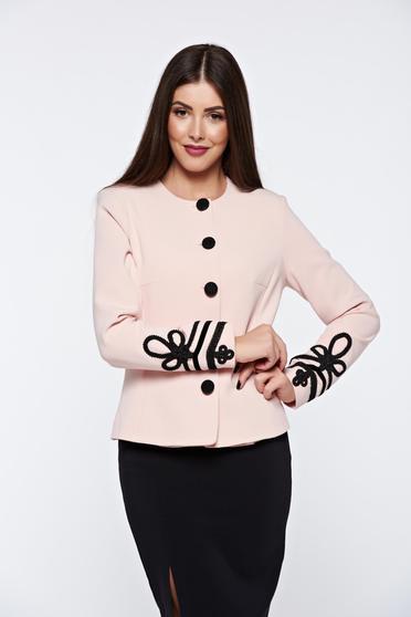 Rózsaszínű LaDonna elegáns blézer kézileg varrott hímzéssel belső béléssel