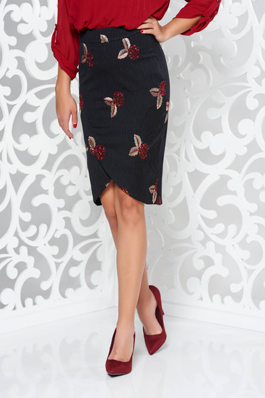 Fekete LaDonna szoknya átfedéses belső béléssel irodai hímzett rugalmatlan szövet
