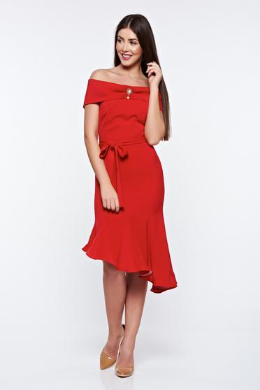 Piros Artista ruha elegáns rugalmas anyag aszimetrikus váll nélküli