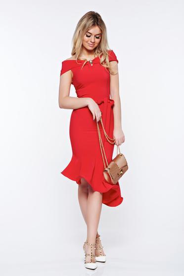 Piros Artista elegáns aszimetrikus ruha rugalmas anyag váll nélküli