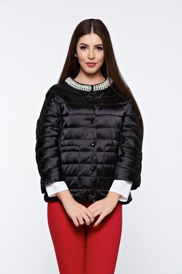 Fekete hétköznapi zsebes dzseki vízhatlan gyöngy díszítéssel