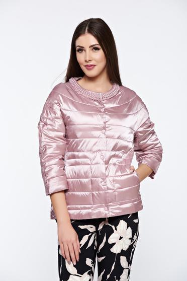 Rózsaszínű hétköznapi zsebes dzseki vízhatlan gyöngy díszítéssel