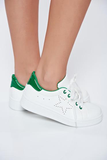 Fehér hétköznapi műbőr sport cipő fűzővel köthető meg