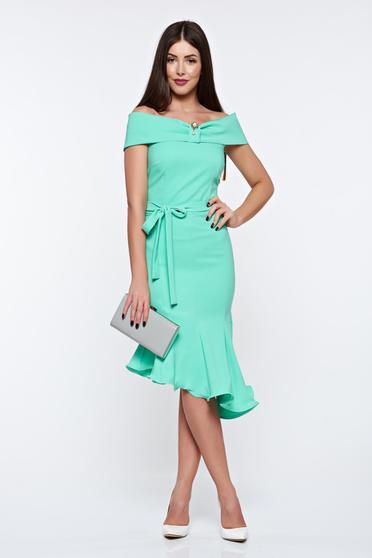Világos zöld Artista ruha elegáns rugalmas anyag aszimetrikus váll nélküli