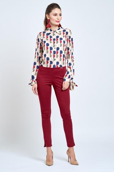 Krém PrettyGirl bő szabású női ing hegyes gallér szatén anyagból