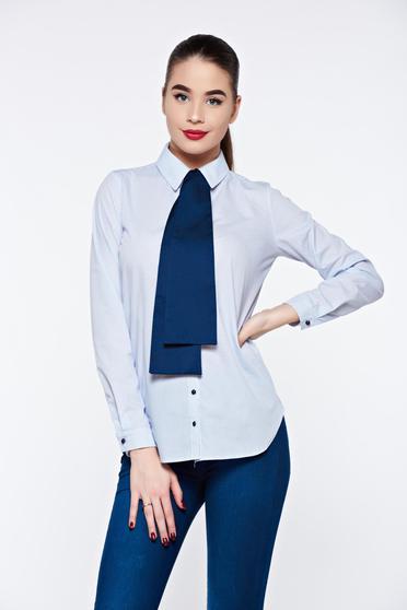 Világoskék PrettyGirl női ing irodai nem elasztikus pamut bő szabás