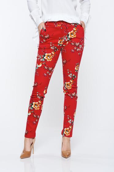 Piros PrettyGirl nadrág rugalmas pamutból zsebes