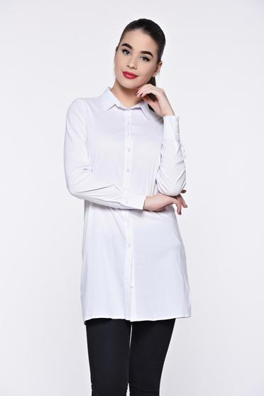 Fehér PrettyGirl női ing casual hosszú bő szabású