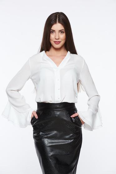 Fehér PrettyGirl elegáns női ing lenge anyagból v-dekoltázzsal